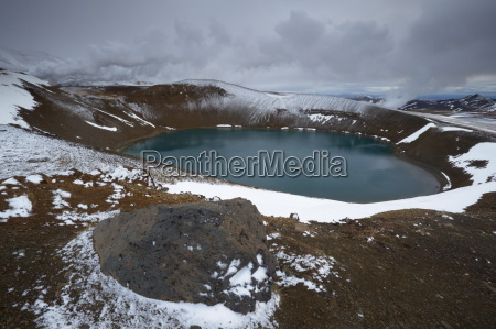 crater lake viti in winter on
