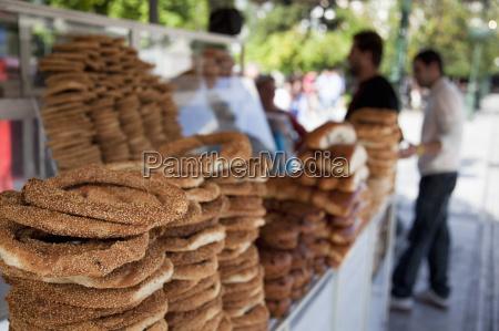 cart selling koulouri a traditional greek