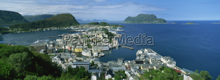 alesund from aksla hill in early