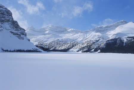 bow lake in winter rocky mountains