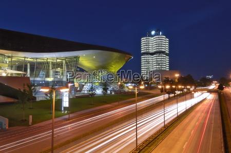 bmw welt and headquarters illuminated at
