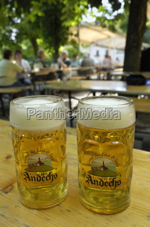 beer steins in andechs beer garden
