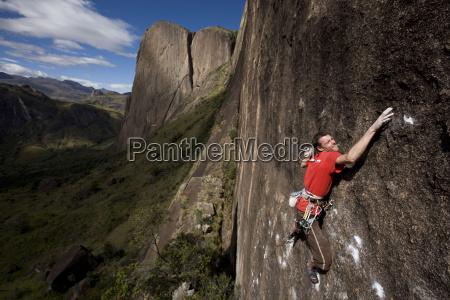 a climber on a very difficult