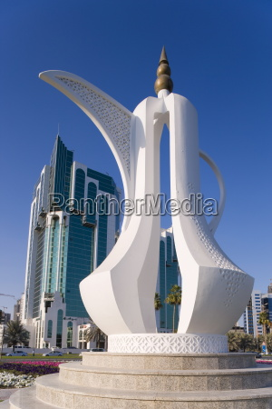 twin towers and teapot sculpture at