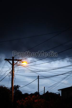 street light at night with a