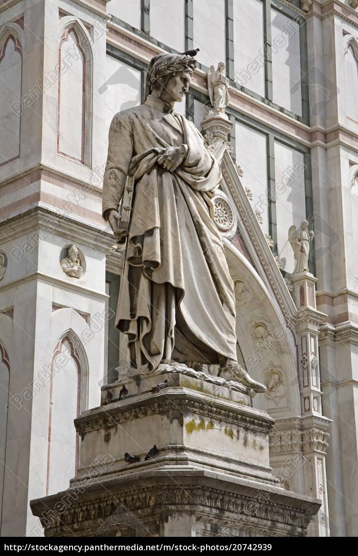 dante's, statue, , piazza, di, santa, croce, - 20742939