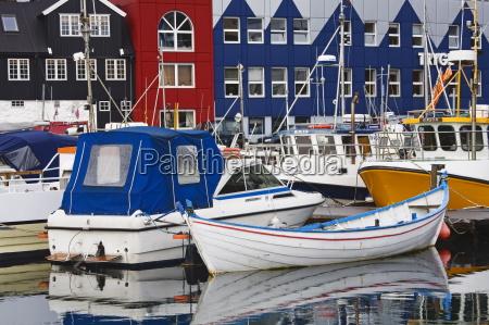 small boat harbor port of torshavn