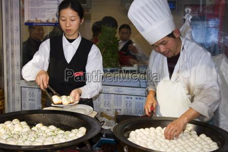 dumpling cook shanghai china asia