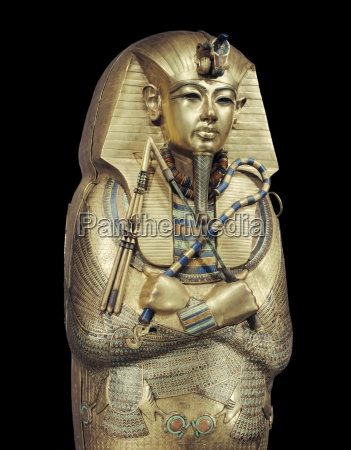 mummiform coffin of gold with inlaid