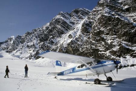 small plane landed on glacier in