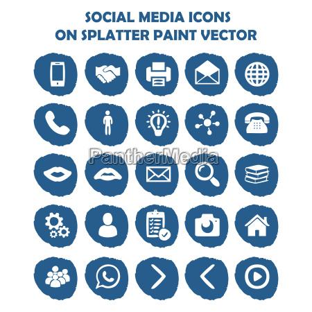 social media icon set on blue