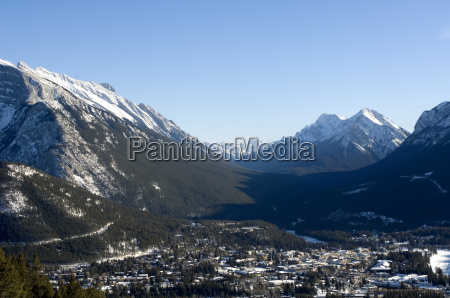 banff surrounded by canadian rocky mountains