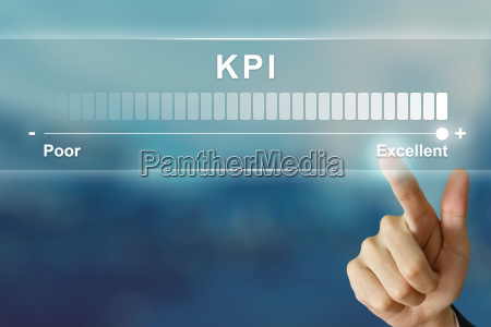 business hand clicking excellent kpi on