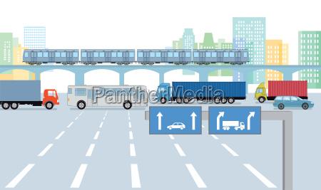 urban street with road traffic
