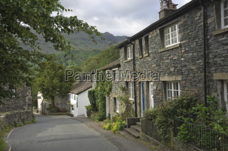 traditional slate walled cottages at seatoller