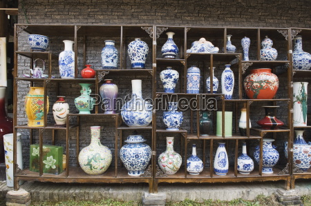 a display of vases at the