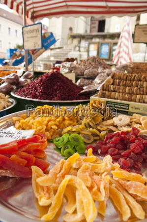 candied fruits in local market in