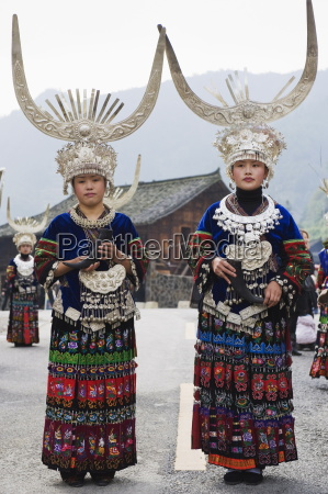 elaborate costumes worn at a traditional