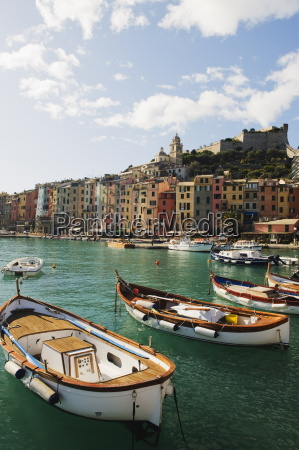 waterfront pastel coloured houses harbour at