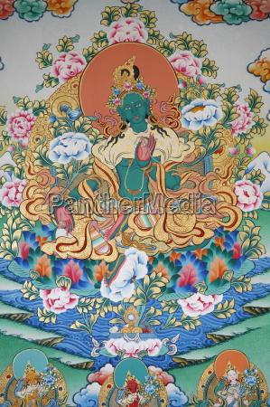 painting of green tara buddhist symbol