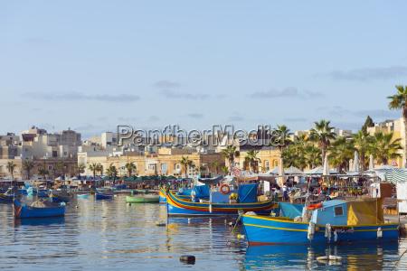 colourful fishing boats dghajsa marsaxlokk harbour