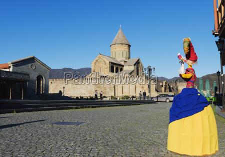 local artisan doll display svetitskhoveli cathedral