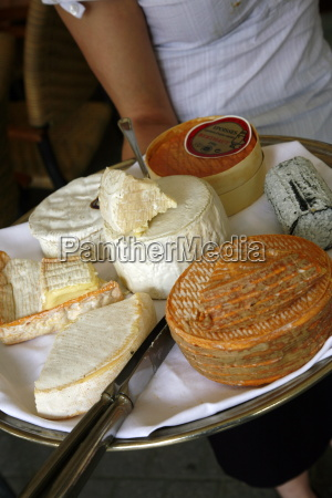 cheese plate with traditional cheese from