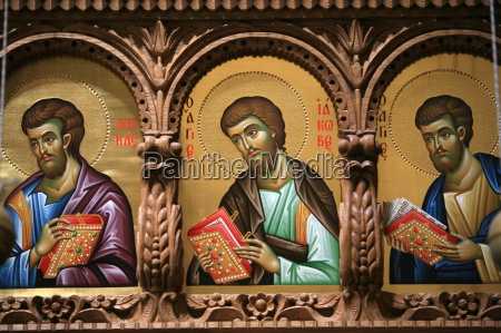 icons on church iconostasis at aghiou