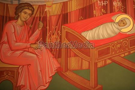 greek orthodox icon depicting marys birth