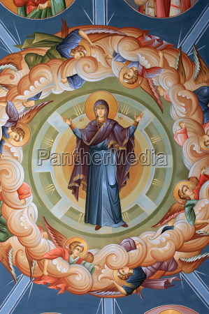 greek orthodox ceiling fresco thessaloniki macedonia