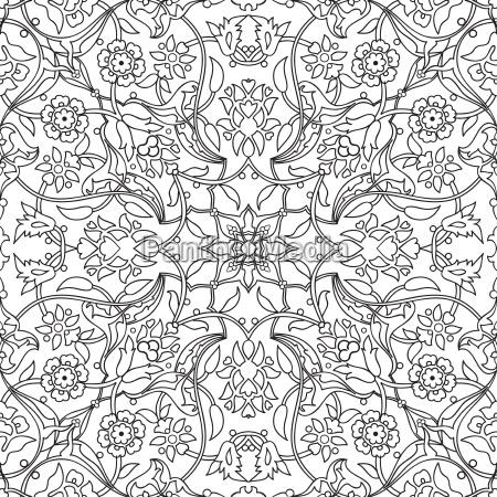 stylized flowers oriental doodle wallpaper seamless