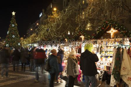 christmas market and christmas tree at