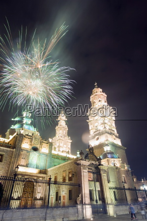 firework display over the cathedral morelia