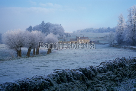 heavy frost at swinbrook in oxfordshire