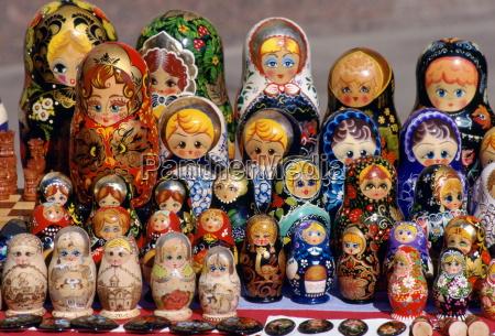 russian babushka dolls on display in