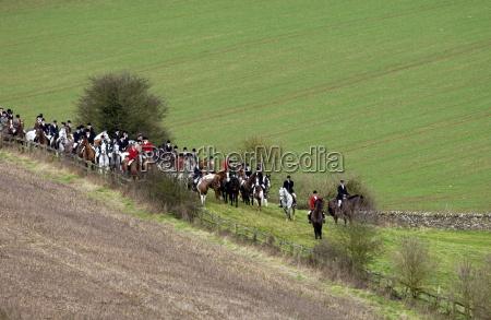 huntsmen gather for a meet at