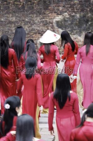 vietnamese school girls vietnam indochina southeast