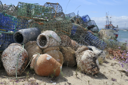 stack of lobster pots and ceramic