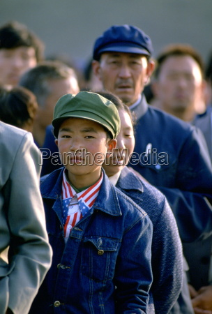 chinese boy wearing a patriotic american