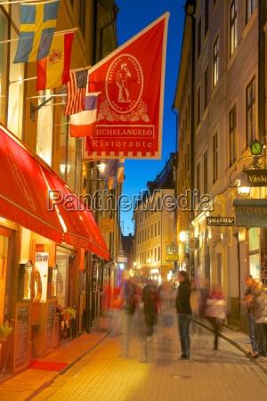 street scene at night gamla stan
