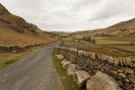 country road leading down from wrynose