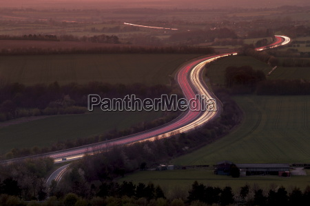 telephoto aerial view of light trails