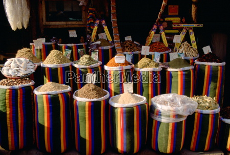 brightly coloured sacks of spices and