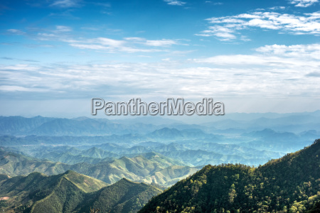 misty mountain chains as seen from