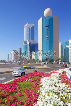 contemporary architecture and taxi on rashid