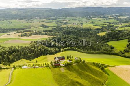 aerial view of farmland surrounding oslo