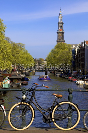 westerkerk tower and prinsengracht canal with