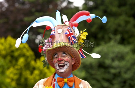 a clown laughing during a community