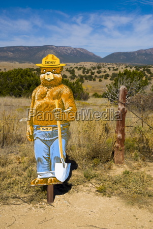 smokey bear fire prevention mascot near