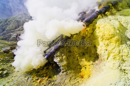 toxic sulphur fumes escaping from the